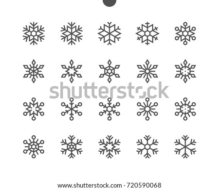 Snowflakes UI Pixel Perfect Well-crafted Vector Thin Line Icons 48x48 Ready for 24x24 Grid for Web Graphics and Apps with Editable Stroke. Simple Minimal Pictogram Part 2-2