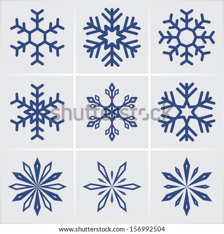snowflakes. vector icons set. eps8 - stock vector