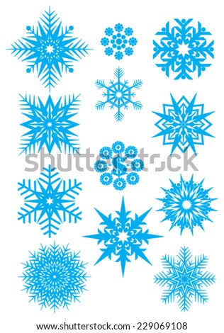 Snowflakes . Vector set of blue snowflakes isolated on a dark white background.  - stock vector