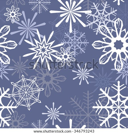 Snowflakes vector winter pattern on blue background.