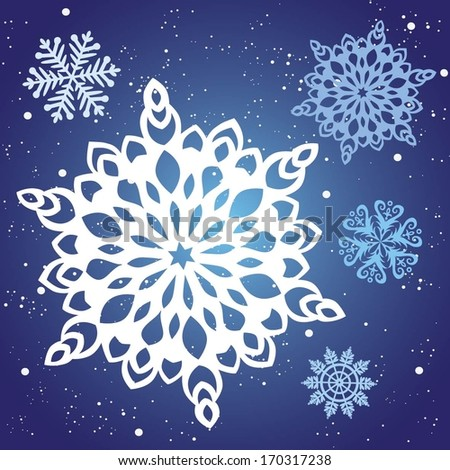 Snowflakes winter - stock vector
