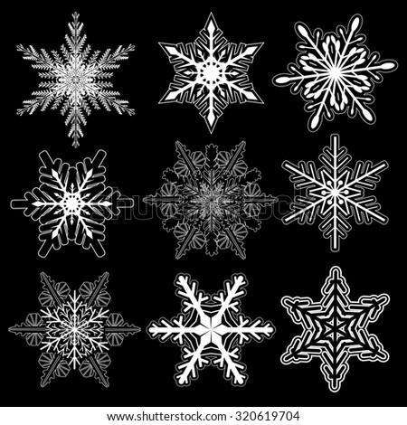 Snowflakes winter set, vector design. - stock vector