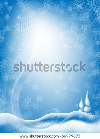 Snowing. A winter vector background illustration with trees and hills covered with snow. Light blue sky with room for text. Letter size. - stock vector