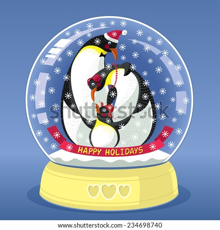 Snowing Globe With Family Of Three Penguins Inside - stock vector