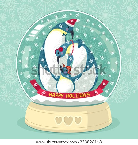 Snowing Globe With Penguin Family Inside - stock vector