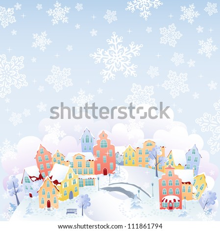 Snowing town - stock vector