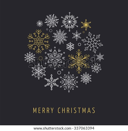 Snowlakes, geometric Christmas circle background - stock vector