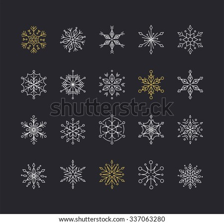 Snowlakes set, geometric Christmas pattern and background - stock vector