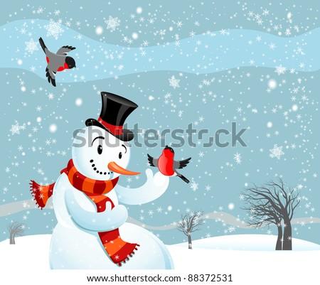 Snowman  and birds bullfinch - stock vector