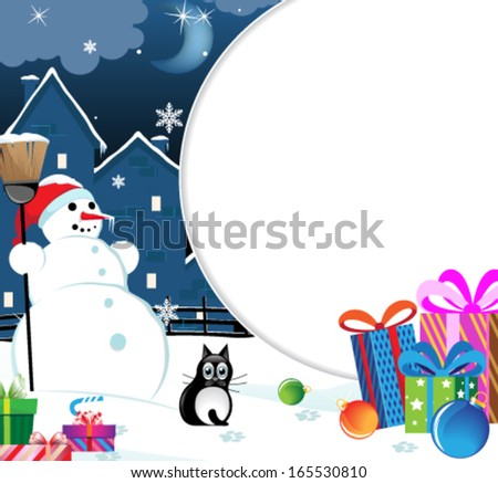 Snowman and black cat with Christmas presents and baubles - stock vector