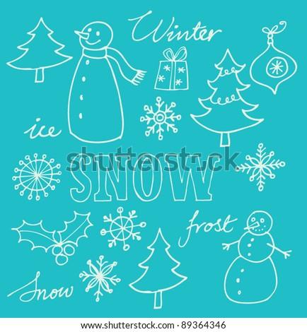 Snowman and Christmas doodles vector - stock vector