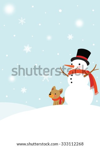 Snowman and Cute Dog in a snowy winter day - stock vector