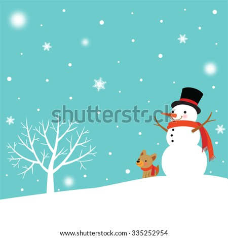 Snowman and Cute Dog in winter - stock vector