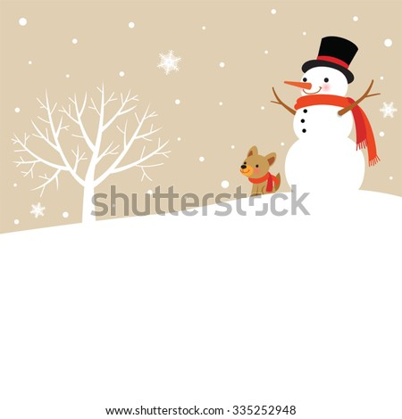 Snowman and Cute Dog, Winter tree - stock vector