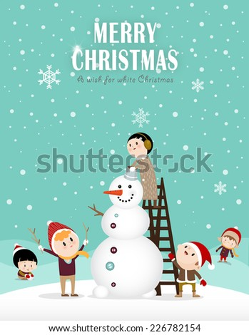 Snowman and kids making a snowman in winter A  - stock vector