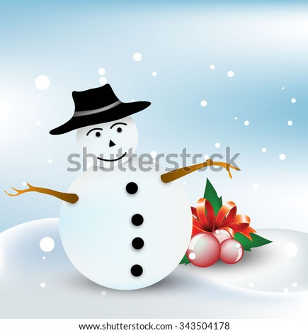 Snowman and leaf christmas design - Winter background - stock vector