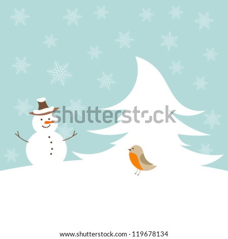 Snowman and robin bird - cute winter illustration