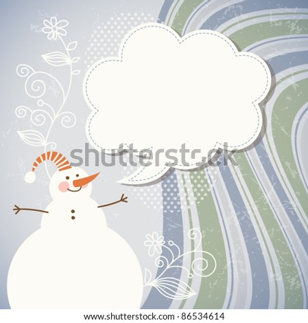 Snowman and speech bubble