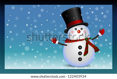 Snowman background, vector Merry Christmas and Happy New Year