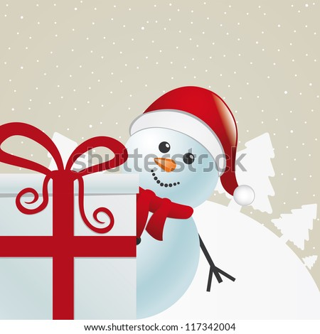 snowman behind gift box white winter landscape - stock vector