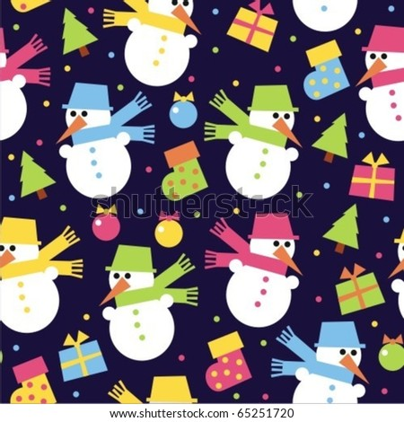 Snowman blue background - stock vector