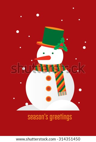Snowman cartoon character design/ Fun and cute season's greeting vector art/ Holidays icon/ Christmas elements and illustration/ Festive background/ Winter time - stock vector
