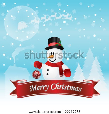 Snowman Christmas Card Vector Illustration - stock vector