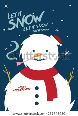 Snowman/ Christmas greeting/ winter wonderland invite/ Snow ball party - stock vector