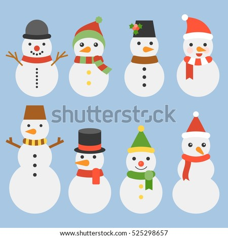 Snowman collection for christmas and winter, cute character flat design vector