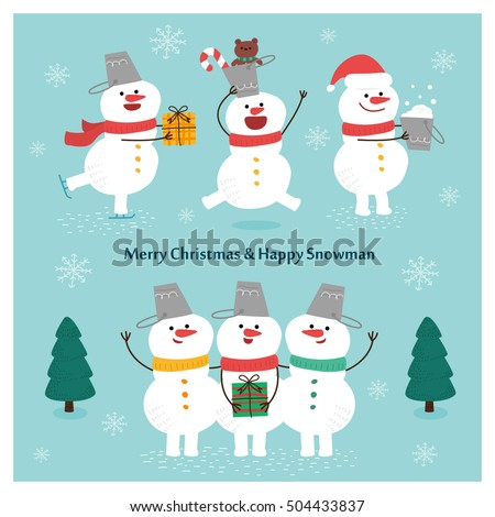 Snowman Collection.Snowman greeting. Cartoon vector set.