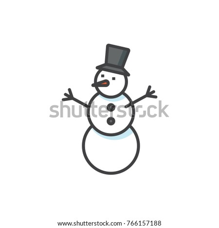 Snowman colored flat line icon.