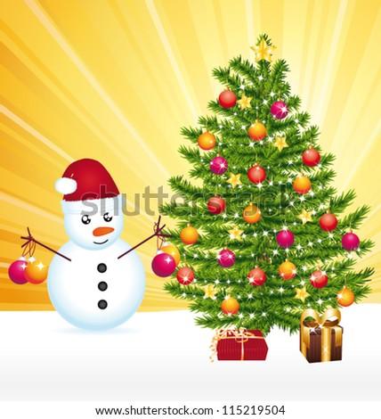 Snowman decorating a joyful christmas tree. Vector greeting card. - stock vector