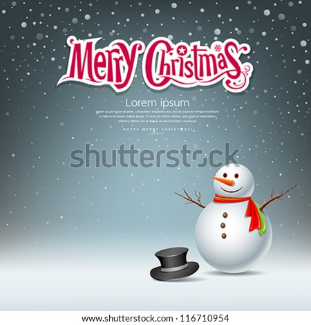 Snowman design on snowflake background. vector illustration - stock vector
