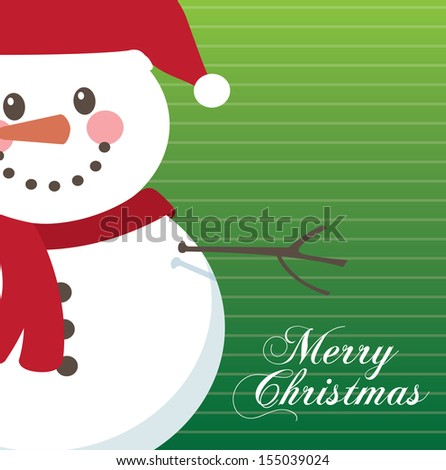 snowman design over green  background vector illustration  - stock vector