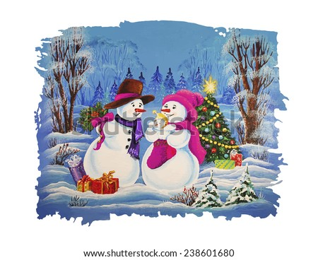 Snowman Family Christmas Card. Father snowman, mother snowman and snowman child celebrating Christmas and sharing gifts. - stock vector