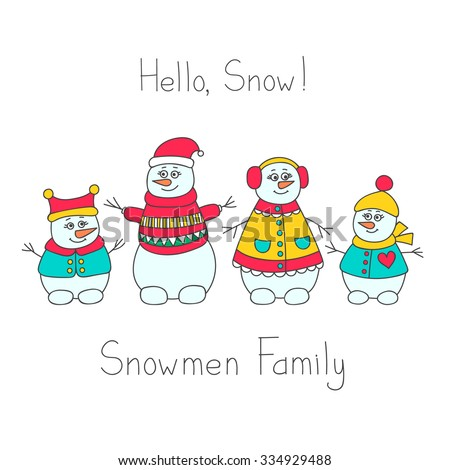 Snowman family. Hand drawn doodle set of snowmen. Bright winter elements for kids design. Vector. Isolated. - stock vector