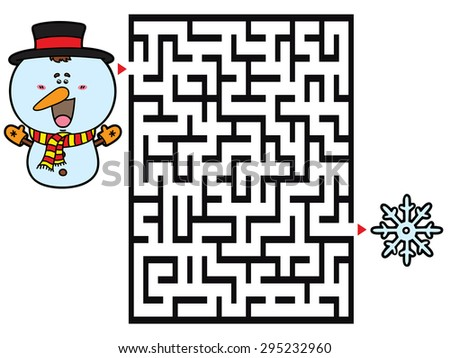 Snowman game. Vector illustration of labyrinth game with cute Snowman for children - stock vector