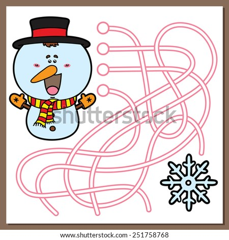 Snowman game. Vector illustration of maze(labyrinth) game with cute cartoon Snowman for children - stock vector