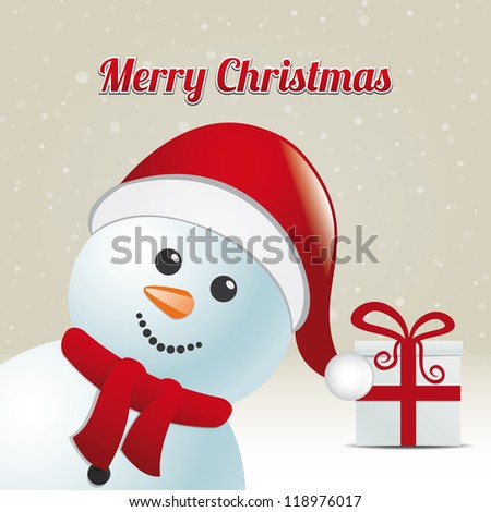 snowman gift snowy winter background merry christmas