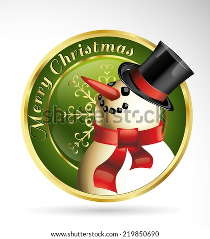 snowman golden vintage isolated illustration logo