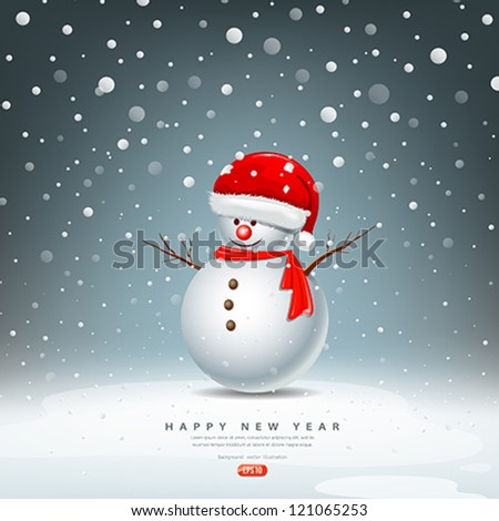 Snowman have Hat red Santa Claus on snow background, vector illustration