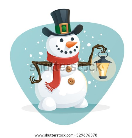 Snowman holding a lamp - stock vector