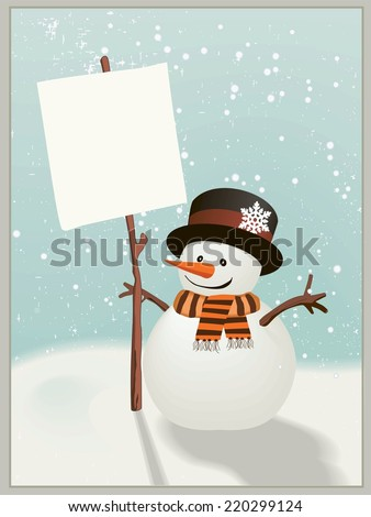 Snowman holds up the snowy message of your choice. - stock vector