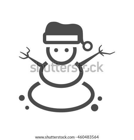 Snowman icon in black and white grey single color. Snow winter december season Christmas - stock vector