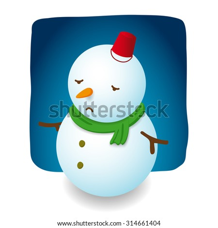 Snowman illustration character design is sad with red hat bucket, carrot nose and green scarf on night background - stock vector
