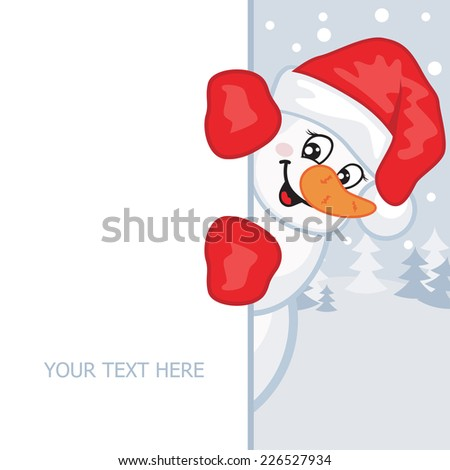 Snowman in a red hat and mittens. Vector illustration. Greeting card. - stock vector