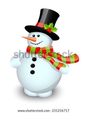 Snowman in a striped scarf and hat decorated with berries on a white background