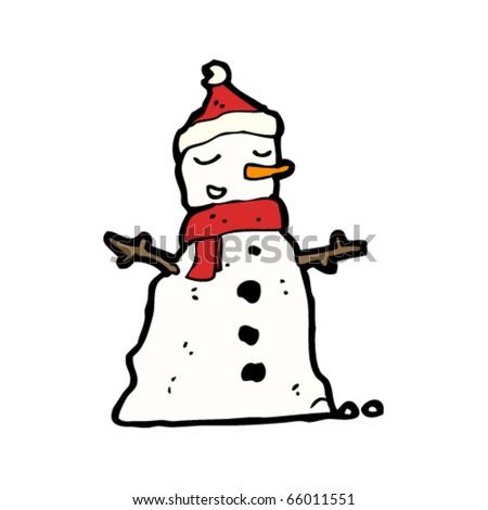 snowman in santa hat cartoon - stock vector