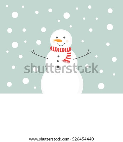 Snowman in scarf in winter scenery background
