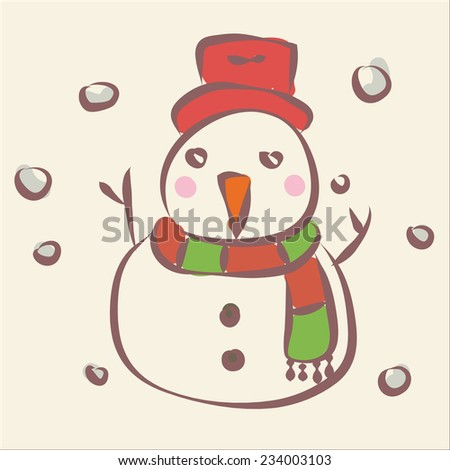 Snowman in The Falling Snow Background